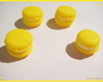 4 cabochons macaron Fimo polymer clay - yellow