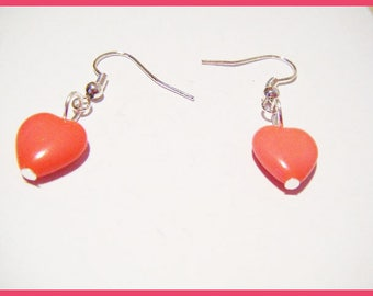 Coral heart earrings ♥ Valentine's day ♥