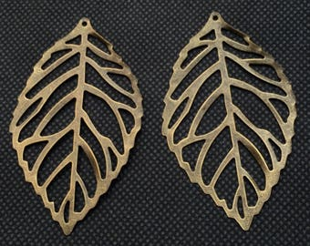 set of two leaf bronze pendants