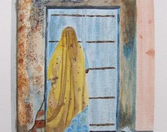 "watercolor ""la femme in sari"""