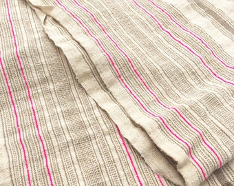 Chinese Hemp/Linen Fabric, Sunwashed Sand color with pink stripes.