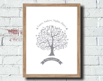 personalised grey family tree print free shipping any colour