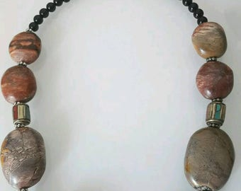 100% Tibetan with Turquoise and Brown necklace