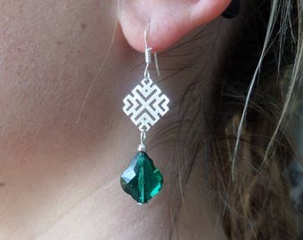 Earrings in silver and emerald green Swarovski Crystal Baroque
