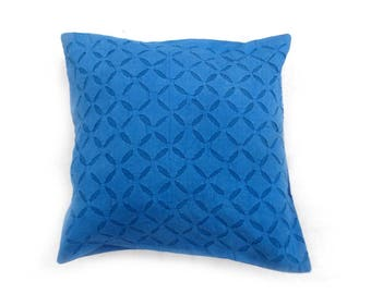 """Indian Pure Cotton Cushion Cover Home Cut Work Decorative Sky Color Size 17x17"""""""