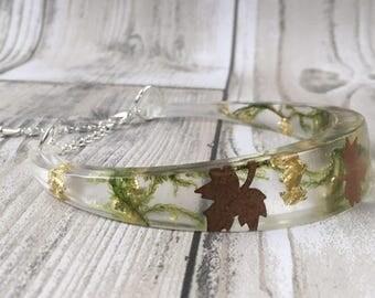 Woodland bracelet-forest jewelry-resin jewelry-bracelet-bangle-real flower bracelet-gift-gift for her-terrarium jewelry-real forest bracelet