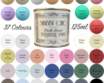 Shabby Chic Chalk Based Furniture Paint 125ml Choice of 37 Colours