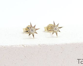 Diamond Gold Earrings, Gold Stud Earrings, Gold Star Earrings, Dainty Jewelry, Diamond Star Earrings, Gift For Her, Romantic Gift, 14k