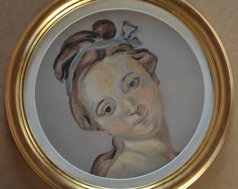 Copy of a Fragonard painting and its nice gold frame.