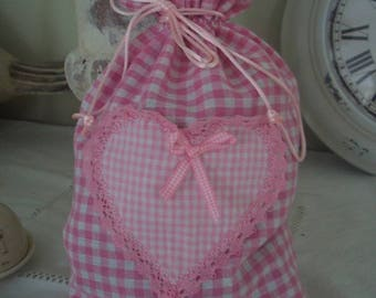 Pink gingham plaid fabric lingerie DrawString bag and decorative heart lace 20 x 29 cm handmade