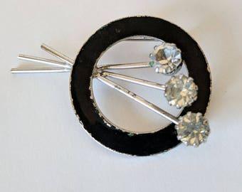 Black Enamel Brooch / Vintage Enamel Brooch/Enamel and Clear Rhinestones brooch