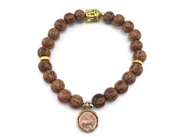 Pink Druzy, Druzy Bracelet, Coconut Shell Bracelet, Coconut Shell Beads, Palm Tree Bracelet, Beach Bracelet, Tropical Bracelet, Natural Gift