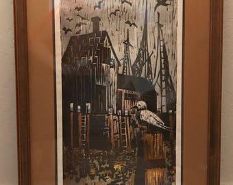 "Framed Fine Art Print Woodblock -Penny Feder - ""The Docks"""