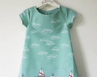 Girls dress, seaside dress, mermaid dress, ocean dress, beach dress, yacht, whale, seal, holiday dress, party dress, play dress, narwhal