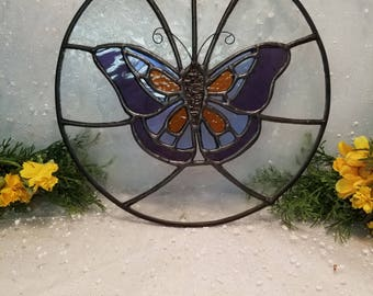 Stained Glass Butterfly Round Suncatcher