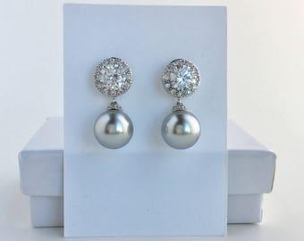 Light Grey Bridal Earrings Grey Pearl Earrings Grey Crystal Wedding Grey Pearl Crystal Earrings Swarovski Grey Pearl Earrings Grey Pearls