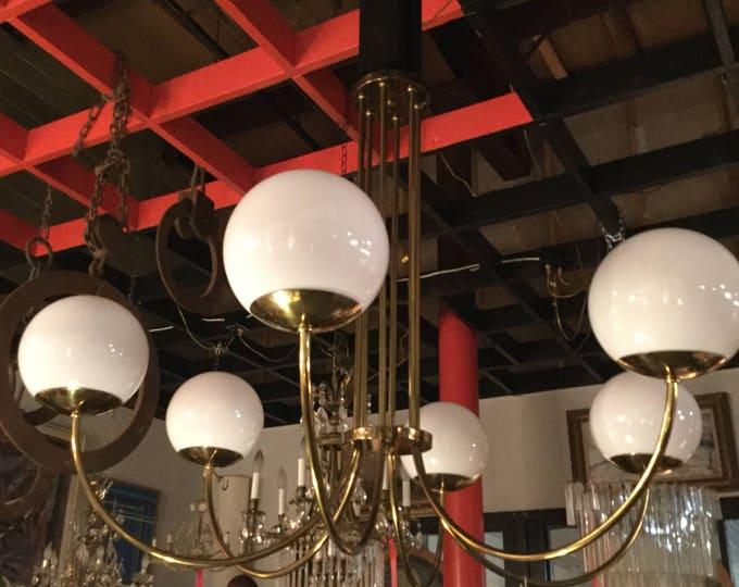 Ca. 1960s Italian Brass and Opaline Glass Bulbs 6 lights Chandelier