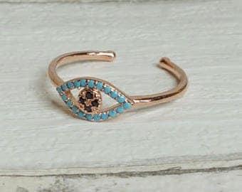 Boho lucky charm evil eye ring