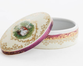 Pretty and elegant porcelain trinket/powder box goldgilt decorations and a cameo transfer of La Camargo Dancing by Lancret, c1950s, marked