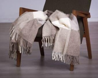 Natural wool blanket - Virgin Wool - Warm Wool Throw - Wool Gift, Blanket Wool, Gift Wool,