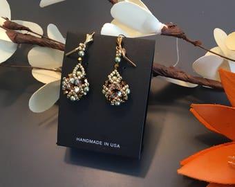 Swarovski earrings beaded earrings luxury earrings party earrings chandelier earring swarovski pearls bicons gold plated gold Christmas gift