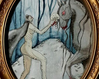 """Original Mixed Media, on paper """"Magick in the Western Woods"""""""