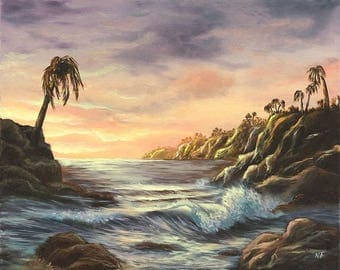 original oil painting, Palm counting waves