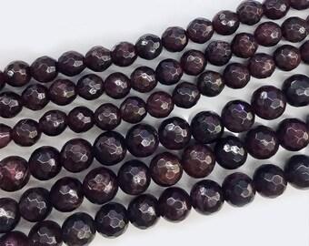 Round Garnet Beads , Gemstone Beads , Natural Garnet Beads ,Faceted Garnet Beads , Sem-Precious Beads ,4-12mm 15.5 Inch Full Strand COD009