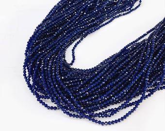 2MM Natural Sapphire Beads, Round Sapphire beads , Faceted Sapphire Beads,  Gemstone Beads , July Birthstone, 15.5 inch  Strand
