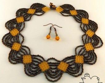 Metallic Iris Brown & Honey Beaded Necklace + FREE Earrings