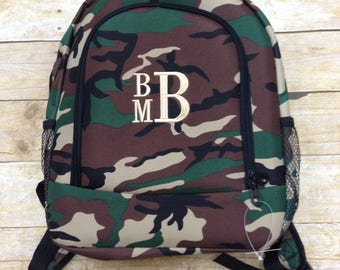 Monogrammed Backpack or Lunch Box/ Camo Print/ Boy's Lunch Box/ FREE MONOGRAM