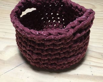 Small Maroon Round Crochet Basket