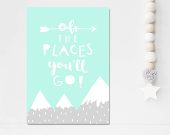 Kids Room Wall Art The Places You'll Go Print Mint Gray Nursery Decor Mountain Print Inspirational Quote Childrens Room Art Baby Gift
