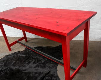 George Bright Red Stained New Pine Bar or Dining Table with Distressed Zinc Foot Guard - made to measure furniture by www.urbangrain.co.uk