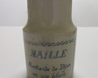 "Mustard pot Sandstone mesh with cork. Inscription ""Dijon mustard with white wine"""