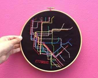 "New York City Subway Map Embroidered By Hand on 9"" Wooden Hoop"