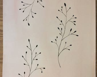 Original watercolor twigs on a pink background