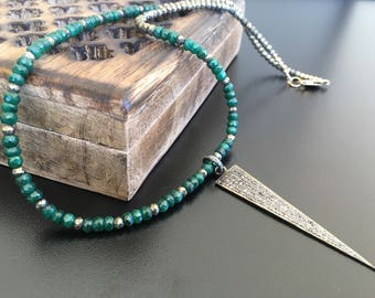 Genuine Handmade Emerald, Pyrite & Pave Diamond Sterling Silver Pendant precious gemstone necklace, accented with gold fill components.