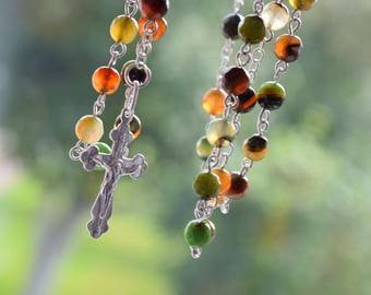 Catholic long prayer rosary, sterling silver & agates, 59 agate beads, silver cross