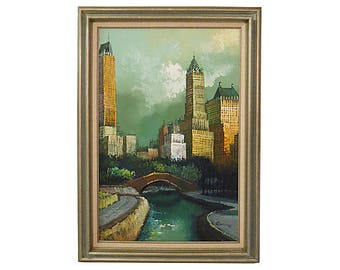 Original Oil Painting of New York City Central Park,  New York City Oil On Canvas, Original Art