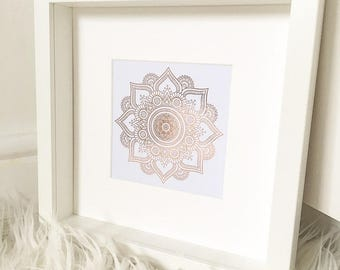 Real Foil Mandala 3D box frame. real foil print quote art foiled print new home print