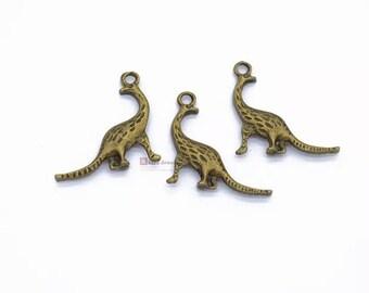 20pcs 3D Dinosaur Charm, 28*18mm, Dinosaur Pendant, Antique Silver/ Antique Bronze