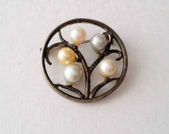 Vintage Sterling Silver Cultured Pearl Brooch