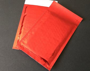 40 4x8 RED Metallic Bubble Mailers Size 000 Self Sealing Shipping Envelopes
