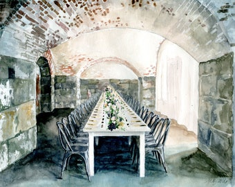 Custom Wedding Venue Portrait (Watercolor Painting) | Wedding Gift | Anniversary Gift | Husband Gift | Gift for Him