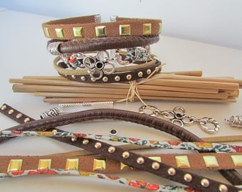 Kit liberty Brown Cuff Bracelet beads connector clasp - 121