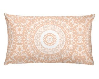 Apricot Pillow, Decorative Throw Pillow, 20x12 Lumbar Pillow, Peach and White Mandala Design Rectangle Cushion