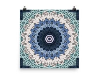 Ocean Blue Decor, Abstract Wall Art, Bohemian Home Decor, Boho Mandala Art Prints