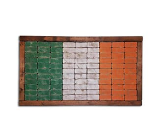 Irish Flag - Flag Of Ireland - Wooden Flag - Wood Decor - Rustic - Vintage - Rustic Flag Of Ireland - Sign - Flag