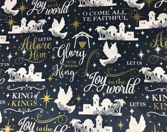Christmas  O come all ye faithful Christian Fabric, holiday fabric, winter fabric, Christmas fabric,inspirational fabric, religious fabric